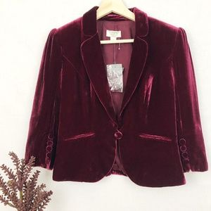 Ann Taylor Loft Holiday Burgundy Velvet Blazer 4P